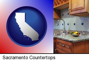 Sacramento, California - a granite countertop