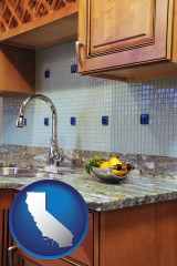 california map icon and a granite countertop