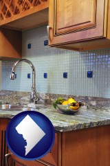 washington-dc map icon and a granite countertop