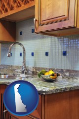 delaware map icon and a granite countertop