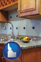 idaho map icon and a granite countertop