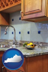 kentucky map icon and a granite countertop