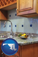 maryland map icon and a granite countertop