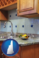 new-hampshire map icon and a granite countertop