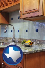 texas map icon and a granite countertop