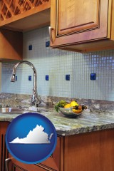 virginia map icon and a granite countertop