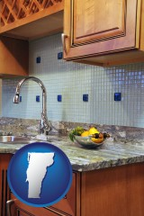 vermont map icon and a granite countertop