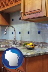 wisconsin map icon and a granite countertop