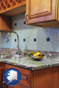 a granite countertop - with Alaska icon
