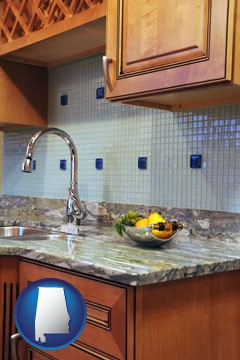 a granite countertop - with Alabama icon