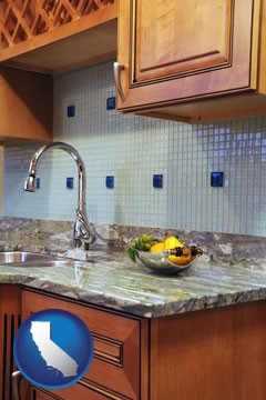 a granite countertop - with California icon