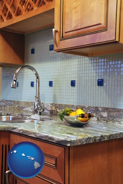 a granite countertop - with Hawaii icon