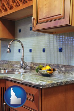 a granite countertop - with Idaho icon