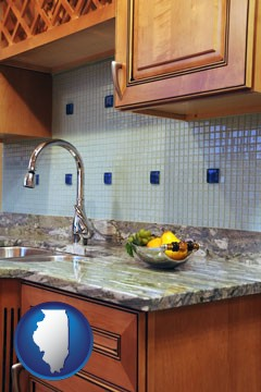 a granite countertop - with Illinois icon