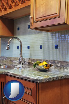 a granite countertop - with Indiana icon