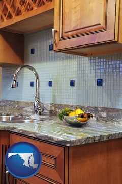 a granite countertop - with Maryland icon