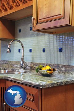 a granite countertop - with Michigan icon