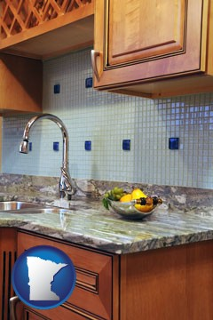 a granite countertop - with Minnesota icon