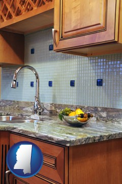 a granite countertop - with Mississippi icon