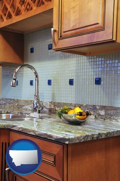 a granite countertop - with Montana icon