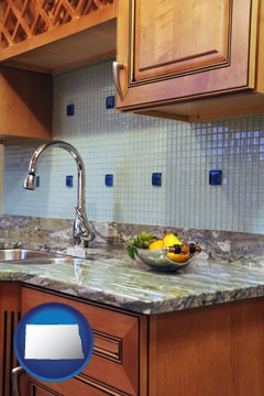 a granite countertop - with North Dakota icon