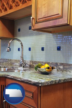 a granite countertop - with Nebraska icon