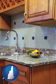 a granite countertop - with New Hampshire icon