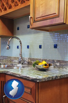 a granite countertop - with New Jersey icon