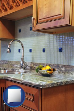 a granite countertop - with New Mexico icon