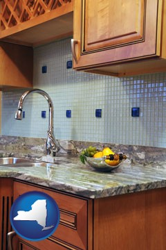a granite countertop - with New York icon