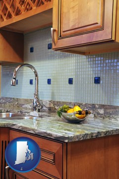 a granite countertop - with Rhode Island icon