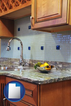 a granite countertop - with Utah icon