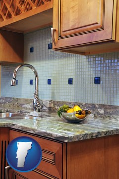 a granite countertop - with Vermont icon