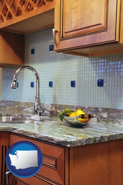 a granite countertop - with Washington icon