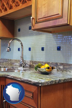 a granite countertop - with Wisconsin icon