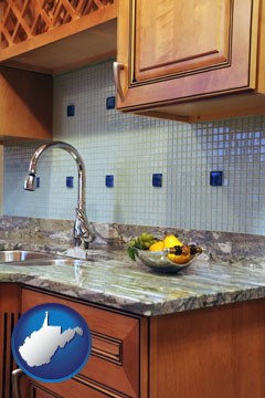 a granite countertop - with West Virginia icon