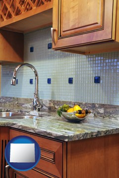 a granite countertop - with Wyoming icon