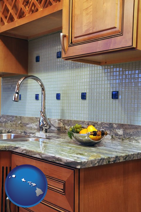 A Granite Countertop   With Hawaii Icon