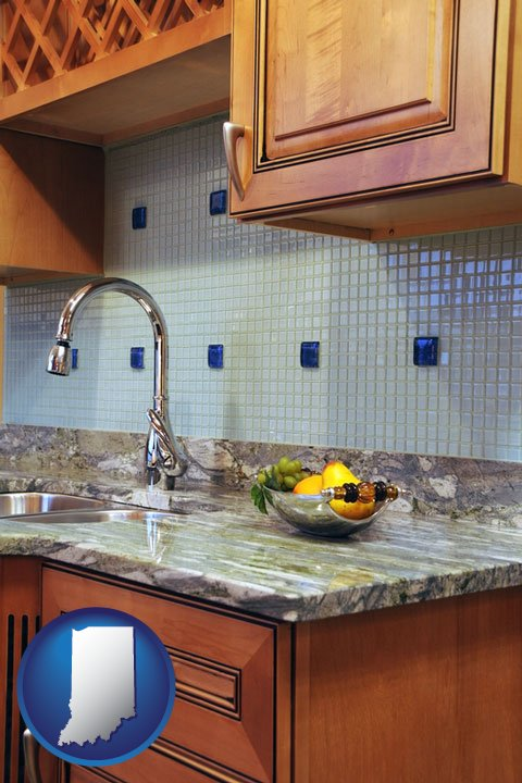A Granite Countertop   With Indiana Icon